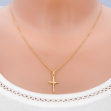 Gold pendant - cross with long matt bends on bars