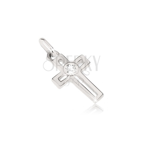 Pendant made of white 14K gold - cross with rectangular cut-out and zircon