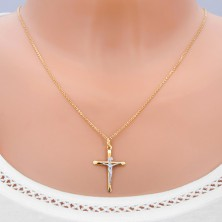 Gold cross - pendant with ovally bevelled bars and Christ