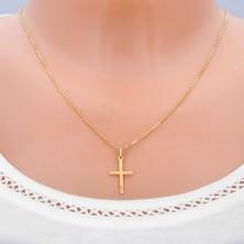 Gold flat cross - shiny regular splinters on surface