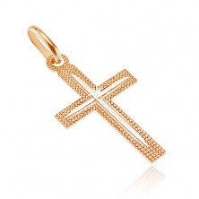 Cross made of 14K gold - indented surface with thin notch on bars