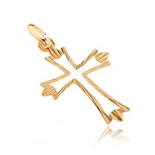 Gold pendant - cross with branched radial bars and cut-out