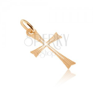 Pendant made of gold 14K - widening bars with shimmering texture