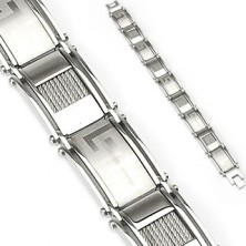 Steel bracelet with big ornaments and ropes