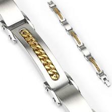 Steel bracelet with golden chain