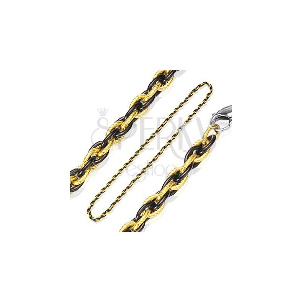 Chain made of surgical steel, braided pattern - bicoloured