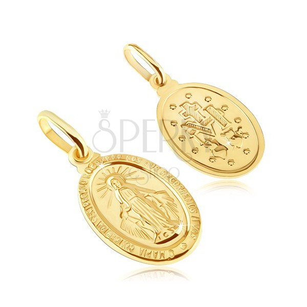 Gold Pendant Oval Tag With Symbol Of Virgin Mary Jewelry Eshop