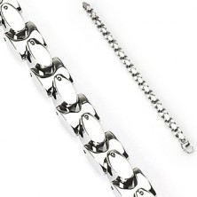 Steel bracelet with silver ovals
