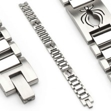 Surgical steel watch style bracelet with spider