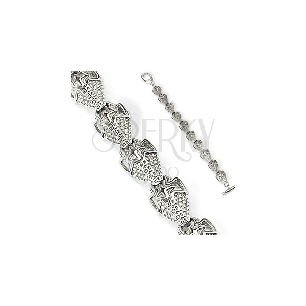 Surgical steel bracelet of shields with pattern