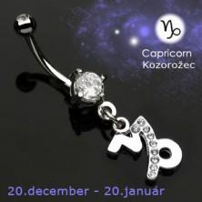 Zodiac belly button ring - Capricorn