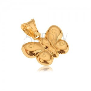 Pendant made of gold 14K, three-dimensional butterfly, shiny surface