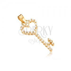 Gold pendant - heart key inlaid with clear zircons