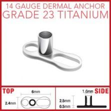 Titanium bottom dermal anchor - two holes