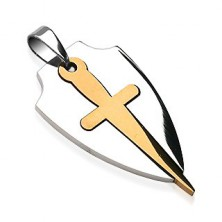 Pendant made of surgical steel in bicoloured design - sword and shield
