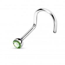 Steel nose piercing with bent end - glittery round zircon, width 1 mm