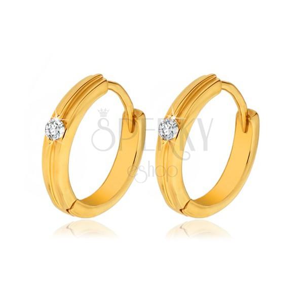 Gold round earrings - slim protuberant stripe, clear stone