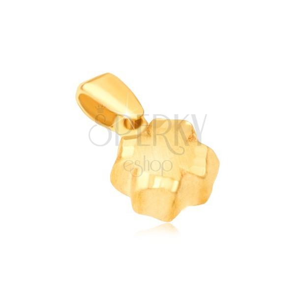 Pendant made of yellow 14K gold - 3D quatrefoil, satin finish, grooved edge