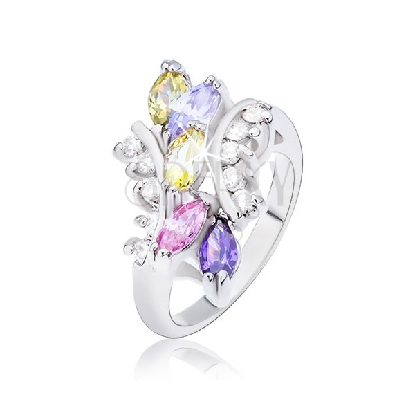 Ring with colourful zircon grains and rounded arms