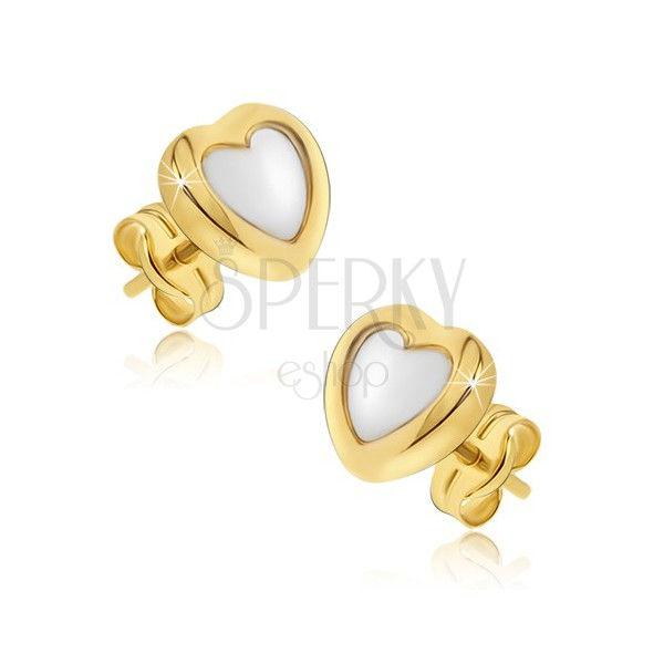 Gold earrings - two-tone regular hearts, shiny rounded surface