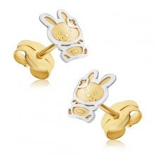 Gold earrings - two-tone bunny with satin finish, glossy contour