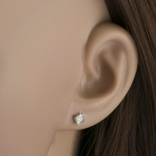 Earrings made of white 14K gold - shimmering tiny squares, round zircons