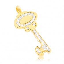 Surgical steel pendant - key in gold colour adorned with clear zircons