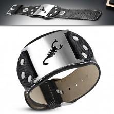 Leather imitation bracelet - token with motif of scorpion, circles, rivets
