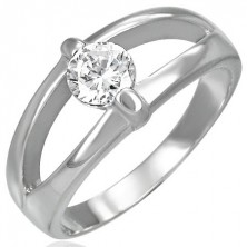 Stainless steel ring with split band and clear zircon