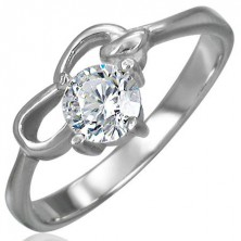 Engagement ring made of surgical steel with zircon in clear colour and two loops