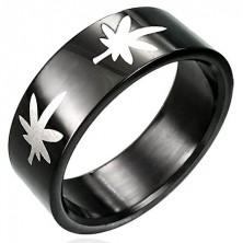 Black stainless steel ring with marijuana