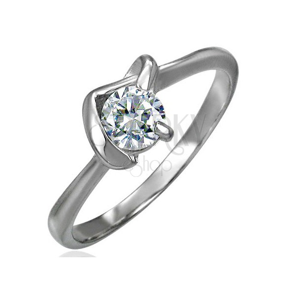 Engagement ring with zircon in V-setting
