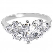 Engagement ring made of 316L steel - sparkly round zircons in clear colour