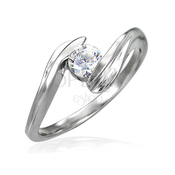 Steel engagement ring with a zircon gripped between the ends of the shoulders
