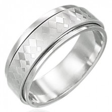 Spinner stainless steel ring with big and small diamond pattern