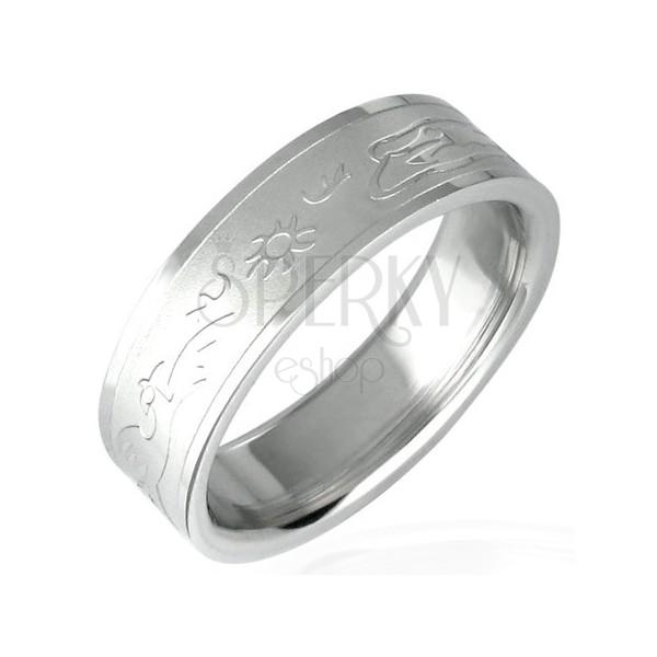 Setting sun stainless steel ring