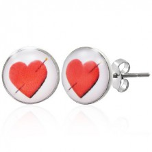 Steel earrings with pierced heart
