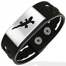 Braided rubber bracelet with metal ID plate - lizard