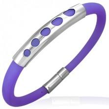 Purple rubber bracelet - pattern or five small circles, metal roller