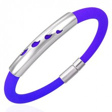 Rubber bracelet with a metal decoration - drops, purple shade