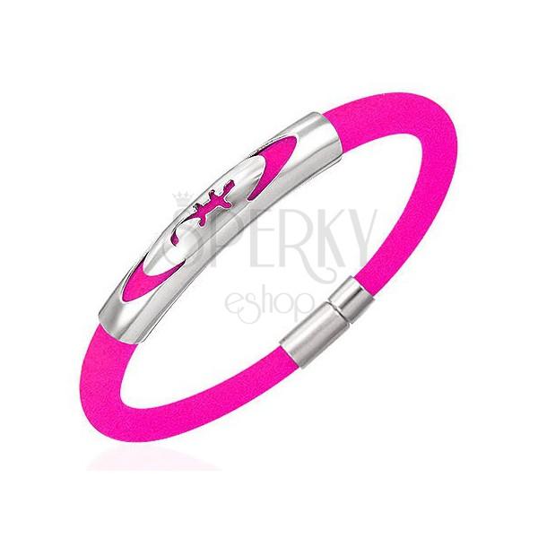 Caoutchouc bracelet - lizard in ellipse, pink