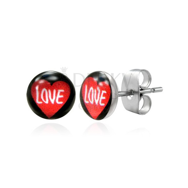 Surgical steel earrings - heart with LOVE inscription