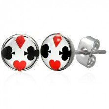 Stainless steel earrings with card symbols