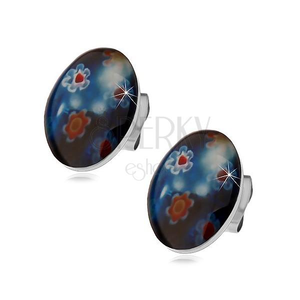 Stud steel earrings, blue oval with coloured flowers
