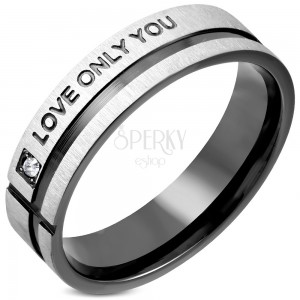 Stainless steel ring with zircon, black stripe and inscription