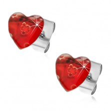 Stainless steel earrings - hearts with stretched flowers