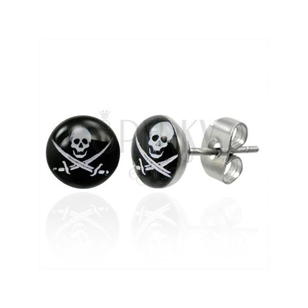 Steel earrings - white skull with two swords on black base