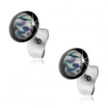 Stud earrings made of 316L steel, blue-white skull, black background