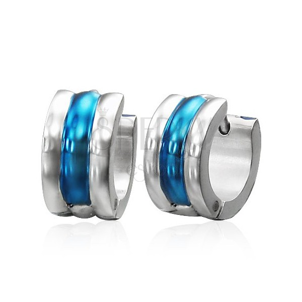Huggie steel earrings - silver and blue stripes