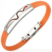 Rubber bracelet - crawling snake, orange